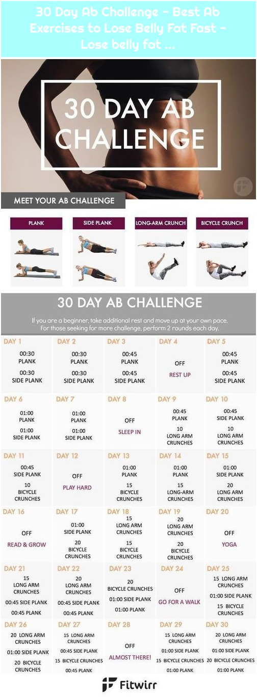 30 Day Ab Challenge - Best Ab Exercises to Lose Belly Fat Fast - Lose belly fat ...