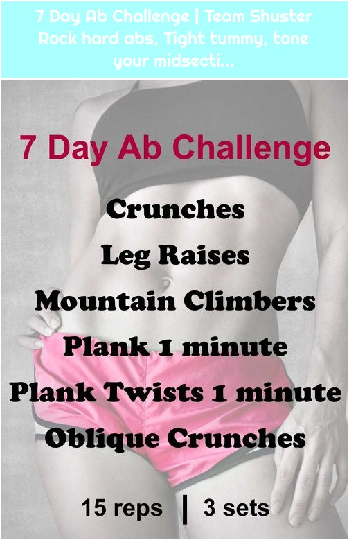 7 Day Ab Challenge | Team Shuster Rock hard abs, Tight tummy, tone your midsecti...